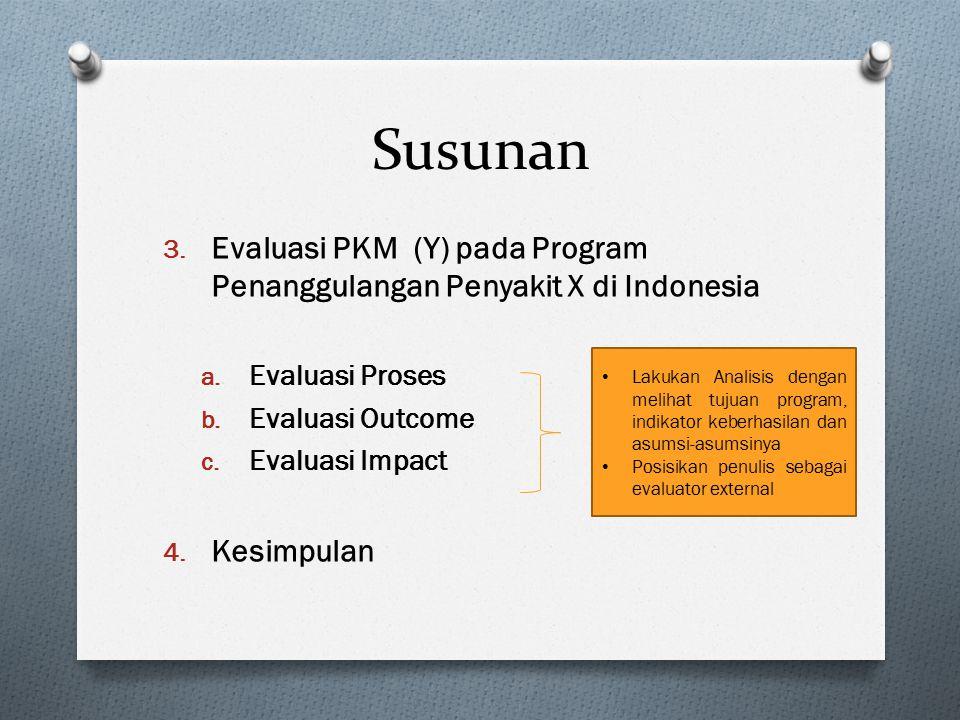 Susunan Evaluasi PKM (Y) pada Program Penanggulangan Penyakit X di Indonesia. Evaluasi Proses. Evaluasi Outcome.