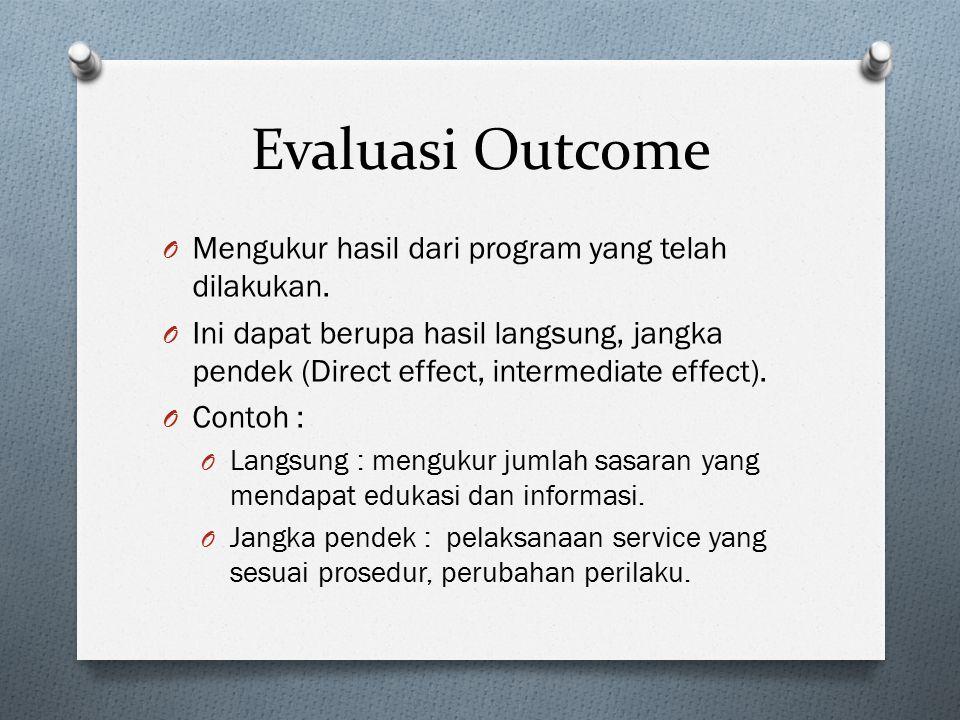 Evaluasi Outcome Mengukur hasil dari program yang telah dilakukan.