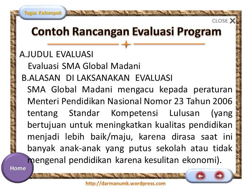 Contoh Rancangan Evaluasi Program