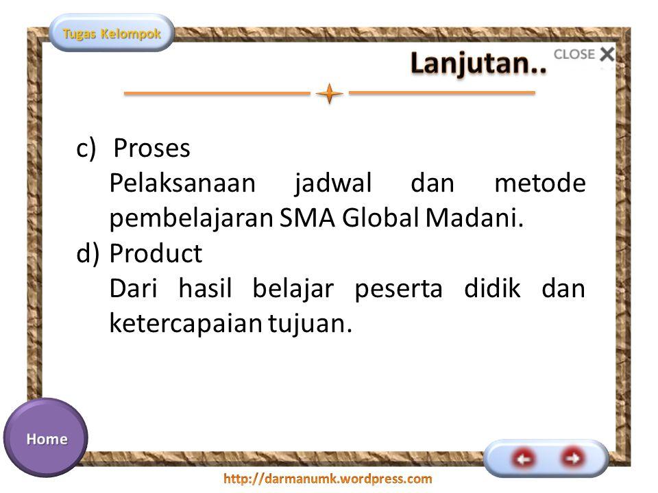 Lanjutan.. Proses. Pelaksanaan jadwal dan metode pembelajaran SMA Global Madani. Product.