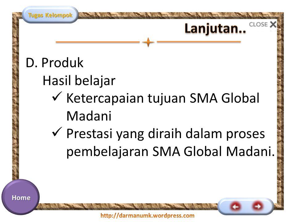 Lanjutan.. D. Produk Hasil belajar. Ketercapaian tujuan SMA Global Madani.