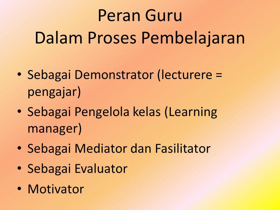 Peran Guru Dalam Proses Pembelajaran