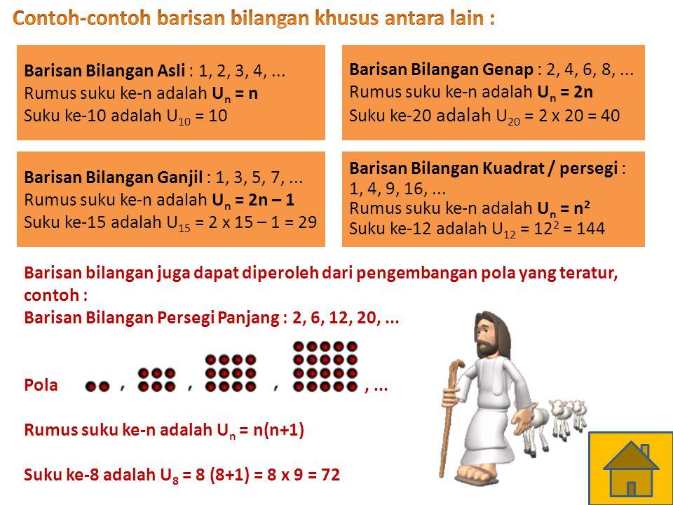 Contoh-contoh barisan bilangan khusus antara lain :