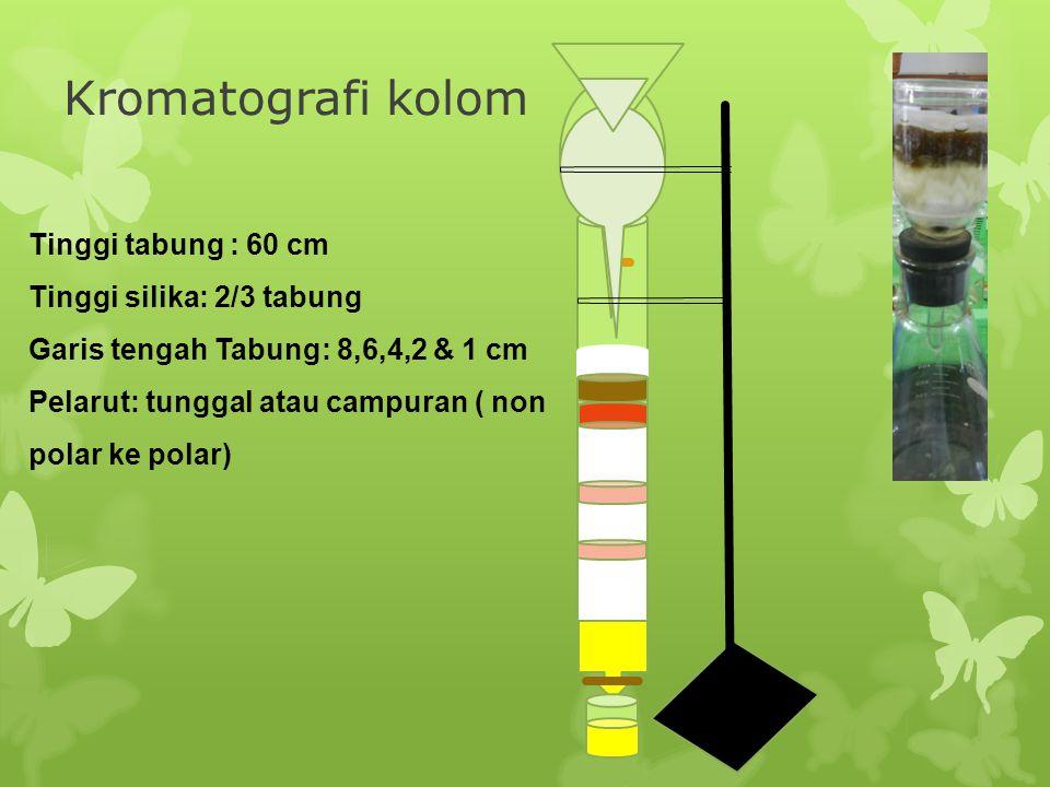 Kromatografi kolom Tinggi tabung : 60 cm Tinggi silika: 2/3 tabung