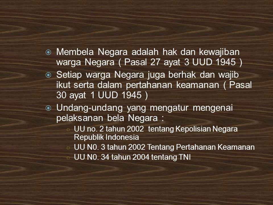 Undang-undang yang mengatur mengenai pelaksanan bela Negara :