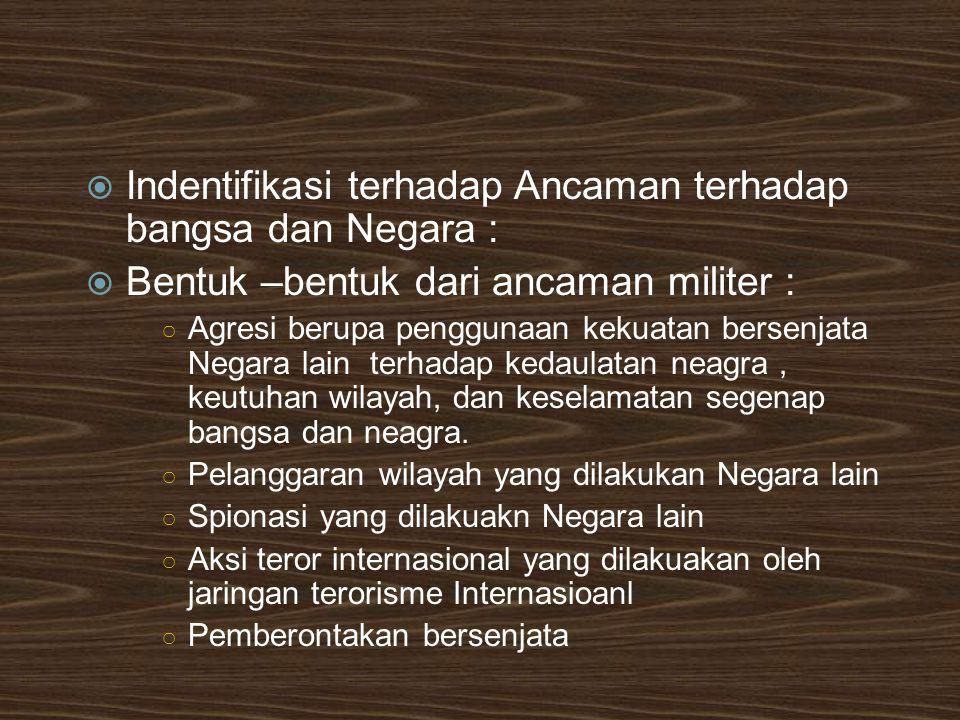 Indentifikasi terhadap Ancaman terhadap bangsa dan Negara :