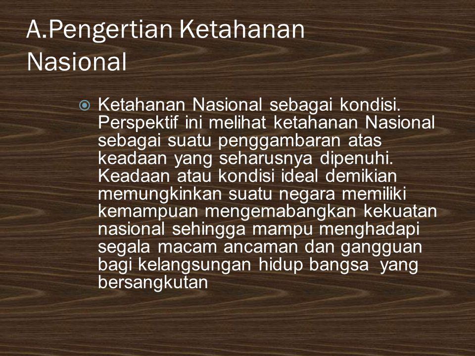 A.Pengertian Ketahanan Nasional