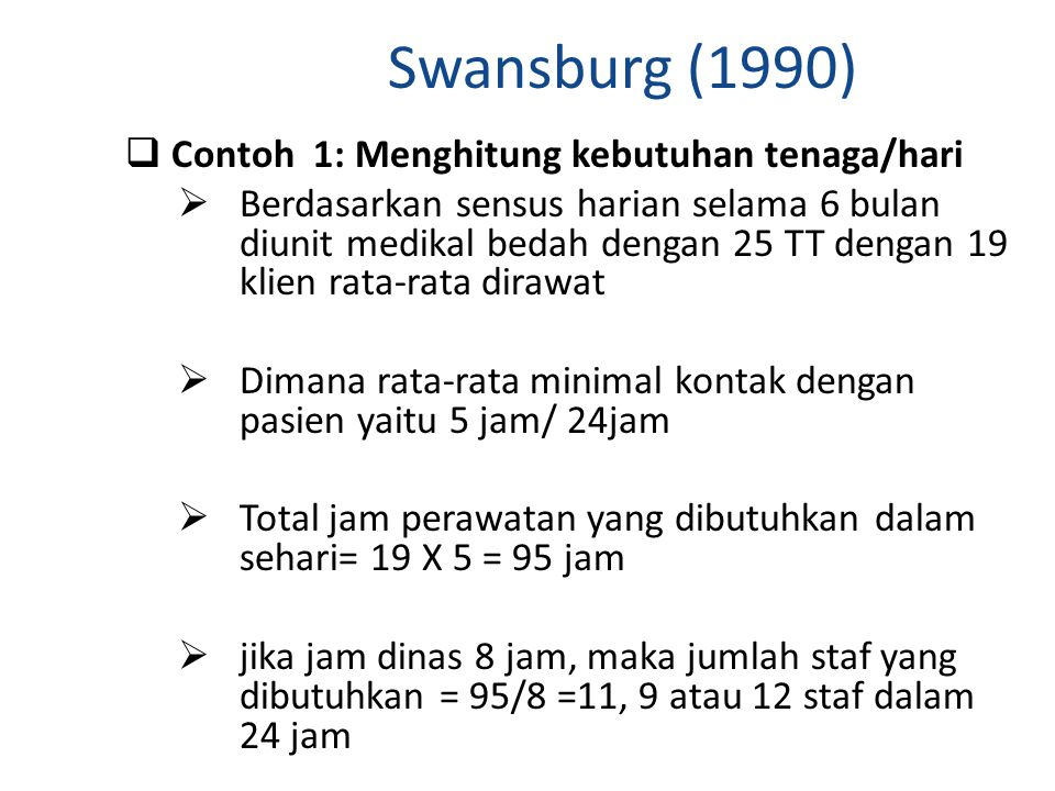 Swansburg (1990) Contoh 1: Menghitung kebutuhan tenaga/hari