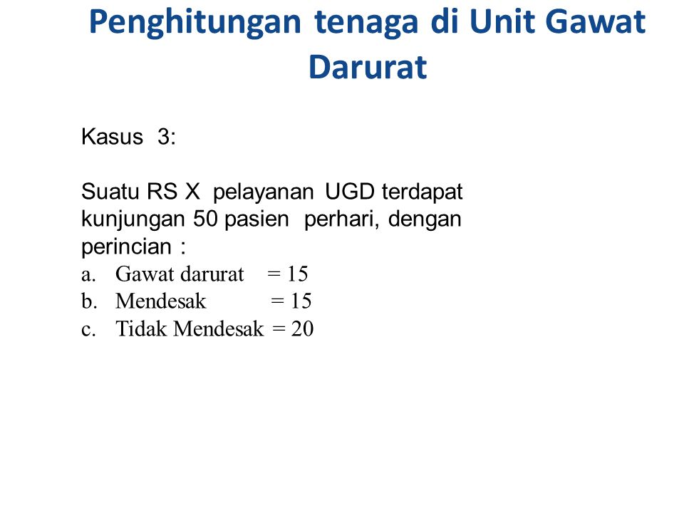 Penghitungan tenaga di Unit Gawat Darurat