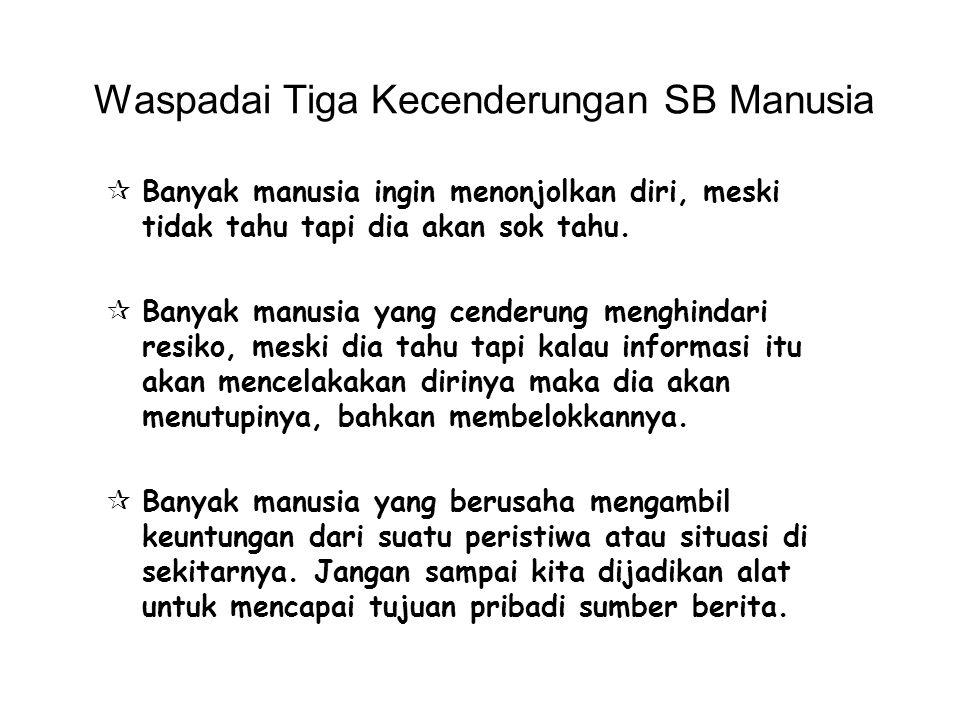 Waspadai Tiga Kecenderungan SB Manusia