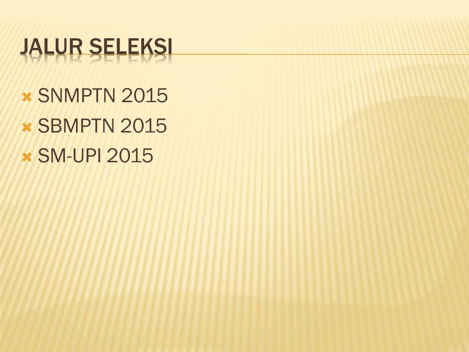 Jalur seleksi SNMPTN 2015 SBMPTN 2015 SM-UPI 2015