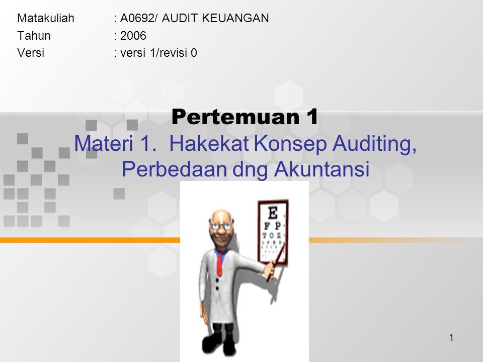 Pertemuan 1 Materi 1. Hakekat Konsep Auditing, Perbedaan dng Akuntansi