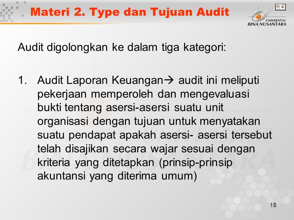 Materi 2. Type dan Tujuan Audit