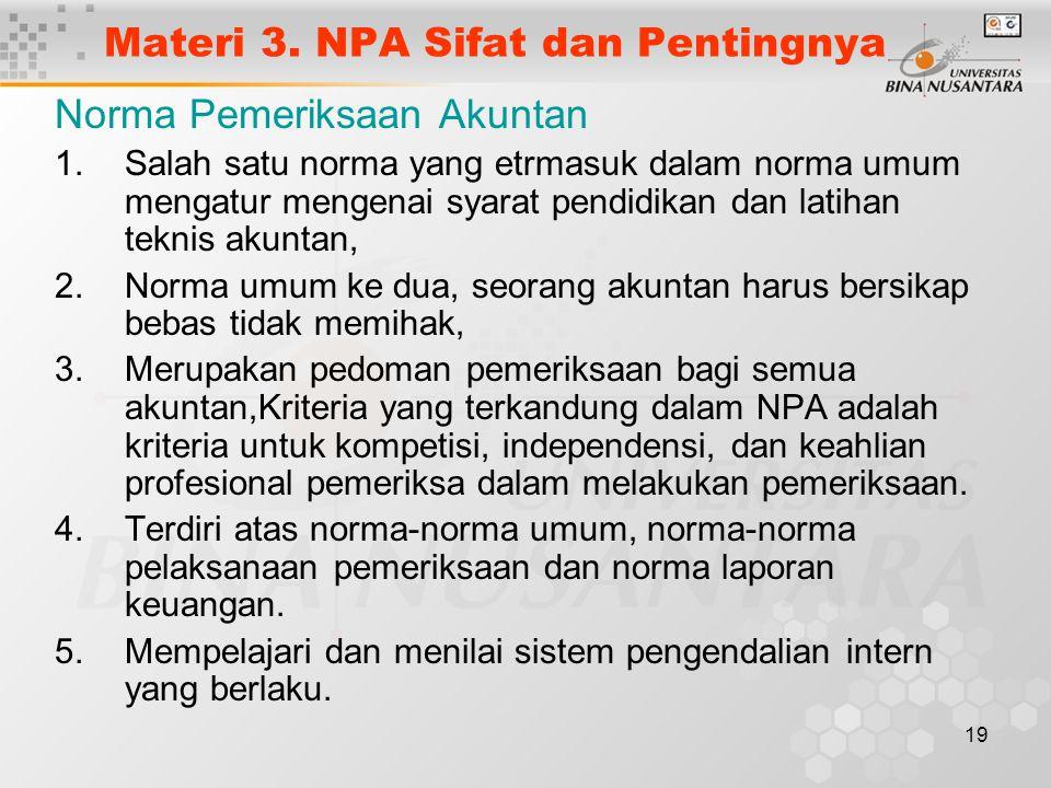 Materi 3. NPA Sifat dan Pentingnya
