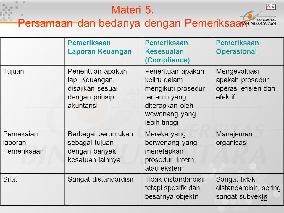 Materi 5. Persamaan dan bedanya dengan Pemeriksaan
