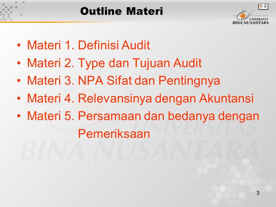 Materi 2. Type dan Tujuan Audit Materi 3. NPA Sifat dan Pentingnya