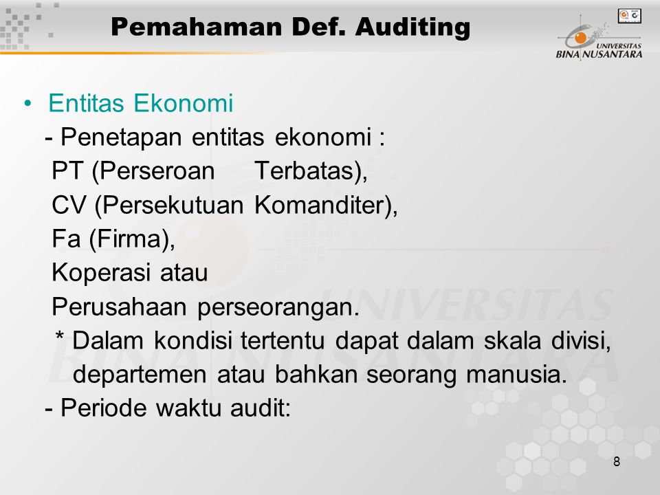 Pemahaman Def. Auditing