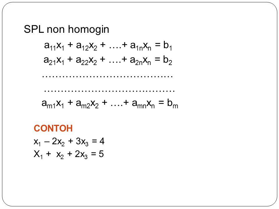 SPL non homogin a11x1 + a12x2 + ….+ a1nxn = b1