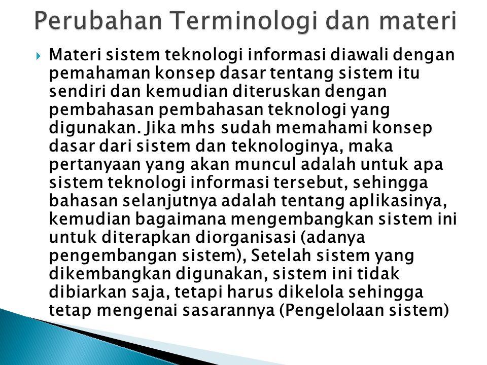 Perubahan Terminologi dan materi