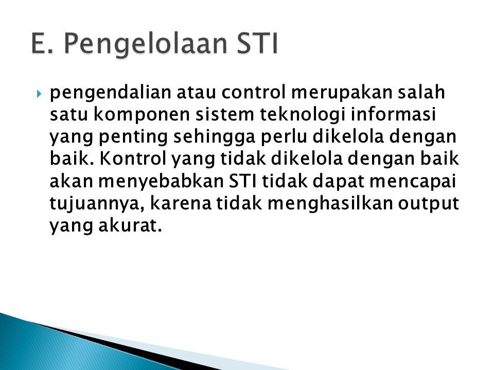 E. Pengelolaan STI
