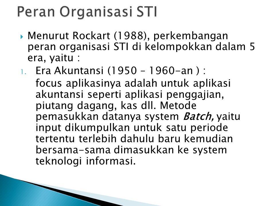 Peran Organisasi STI Menurut Rockart (1988), perkembangan peran organisasi STI di kelompokkan dalam 5 era, yaitu :