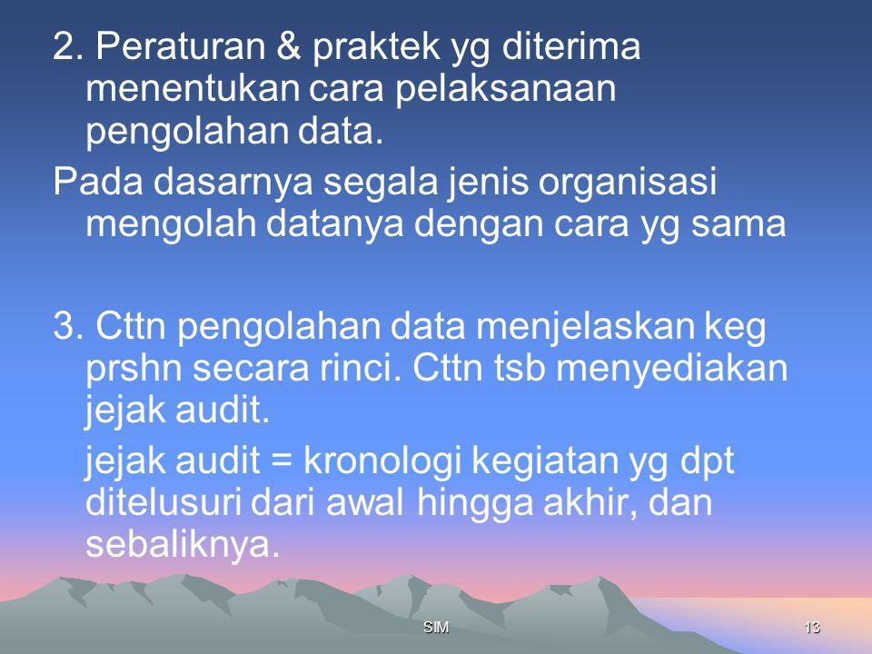 2. Peraturan & praktek yg diterima menentukan cara pelaksanaan pengolahan data.