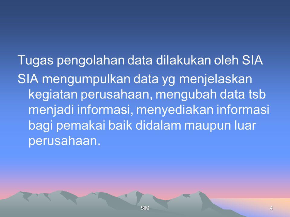 Tugas pengolahan data dilakukan oleh SIA