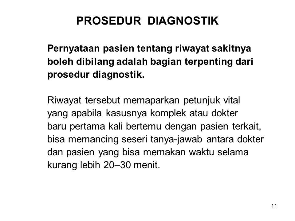 PROSEDUR DIAGNOSTIK Pernyataan pasien tentang riwayat sakitnya