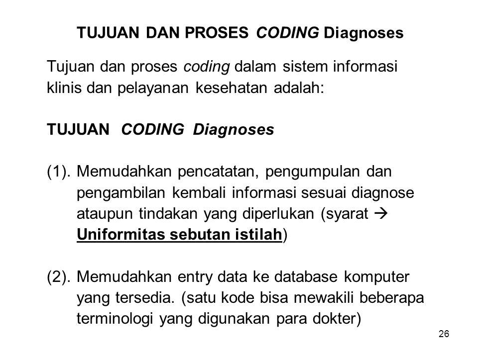 TUJUAN DAN PROSES CODING Diagnoses