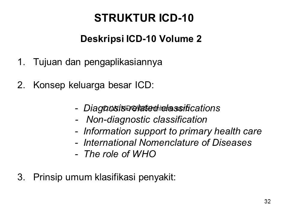 STRUKTUR ICD-10 Deskripsi ICD-10 Volume 2 Tujuan dan pengaplikasiannya