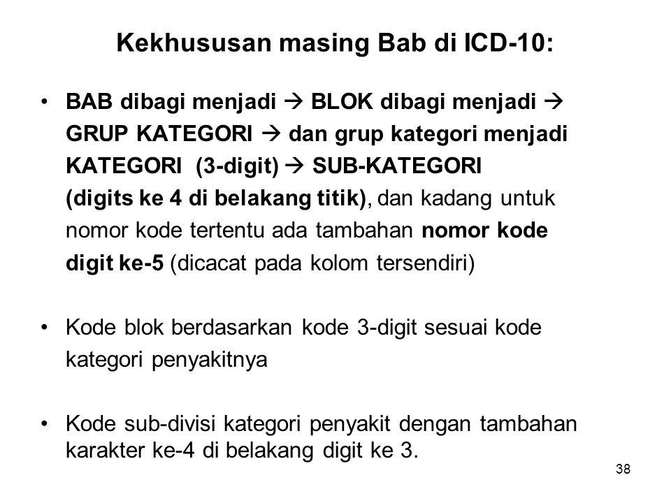 Kekhususan masing Bab di ICD-10: