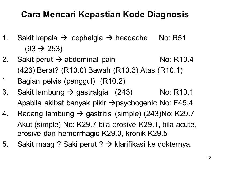 Cara Mencari Kepastian Kode Diagnosis