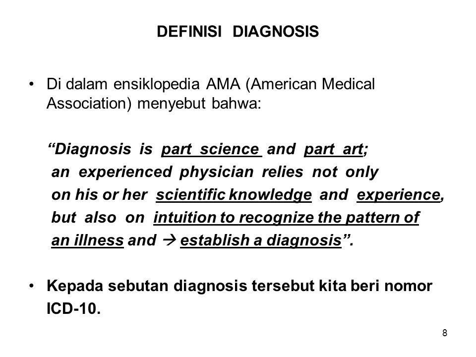 DEFINISI DIAGNOSIS Di dalam ensiklopedia AMA (American Medical Association) menyebut bahwa: Diagnosis is part science and part art;