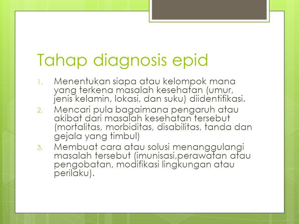 Tahap diagnosis epid Menentukan siapa atau kelompok mana yang terkena masalah kesehatan (umur, jenis kelamin, lokasi, dan suku) diidentifikasi.