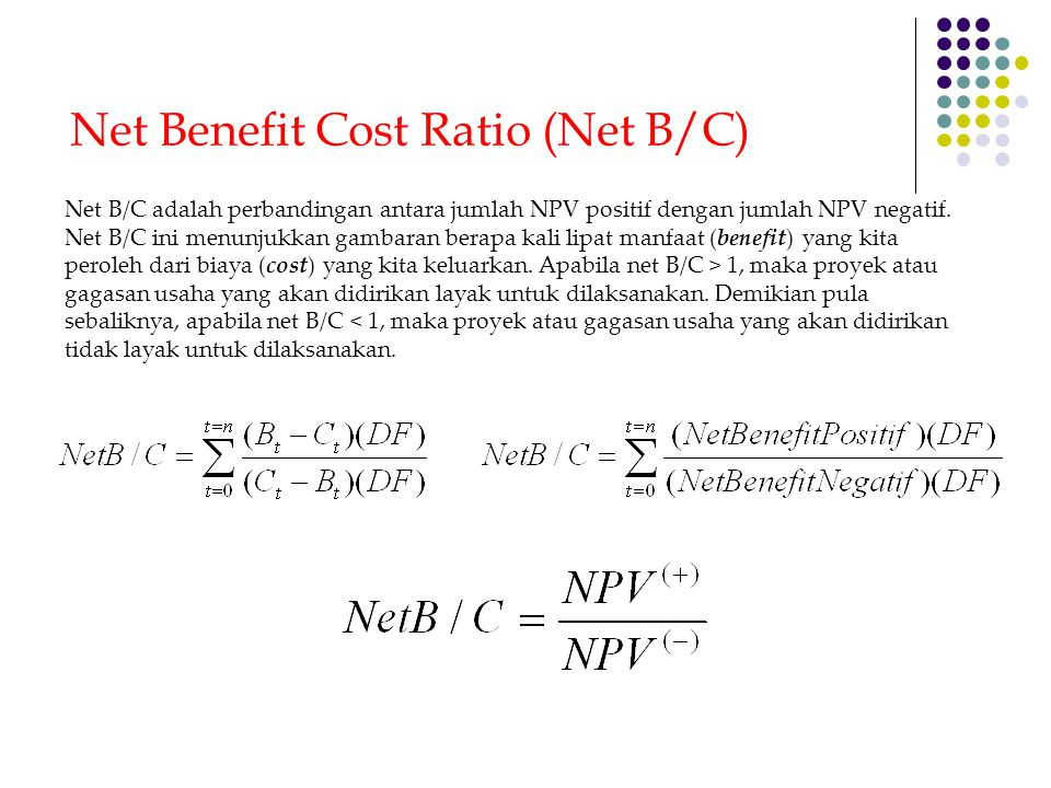 Net Benefit Cost Ratio (Net B/C)
