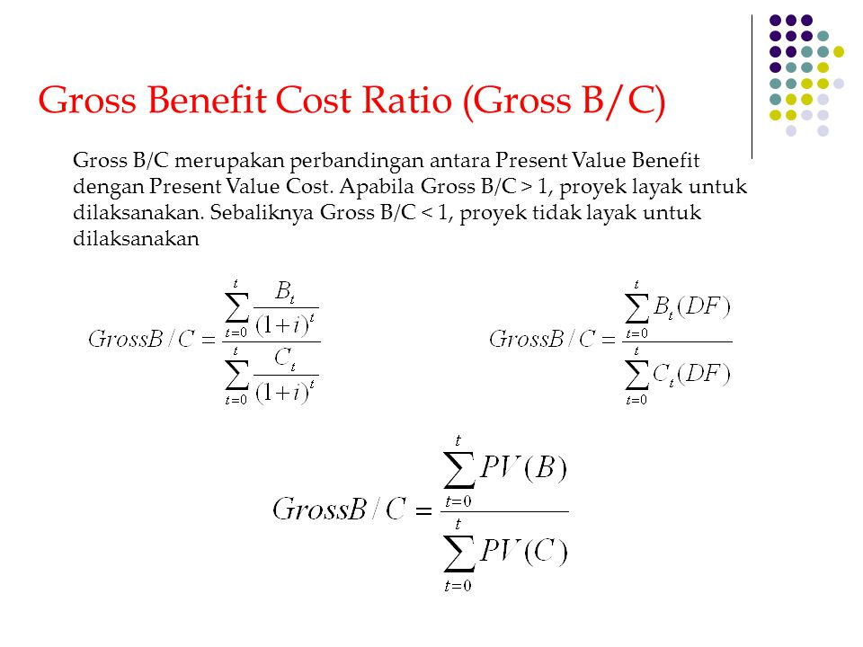 Gross Benefit Cost Ratio (Gross B/C)