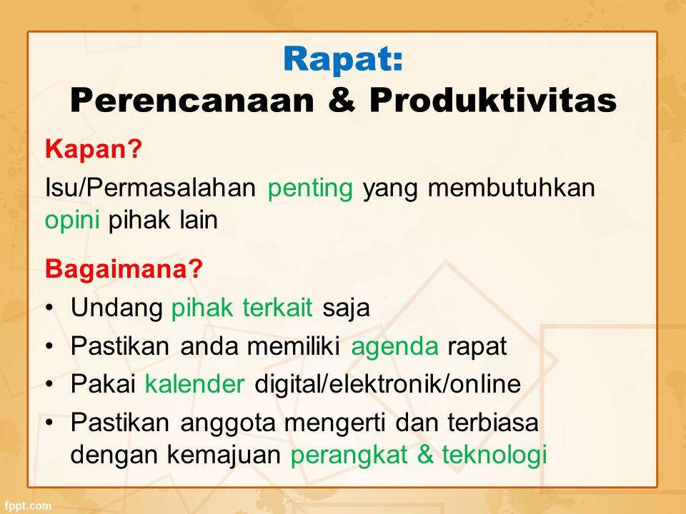 Rapat: Perencanaan & Produktivitas