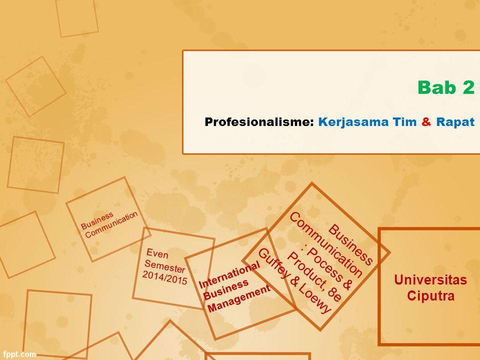Bab 2 Profesionalisme: Kerjasama Tim & Rapat