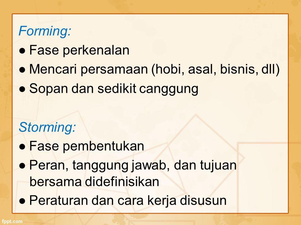 Forming: ● Fase perkenalan. ● Mencari persamaan (hobi, asal, bisnis, dll) ● Sopan dan sedikit canggung.