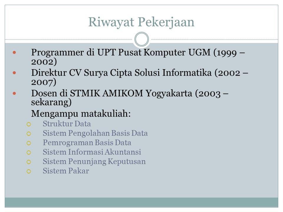 Riwayat Pekerjaan Programmer di UPT Pusat Komputer UGM (1999 – 2002)