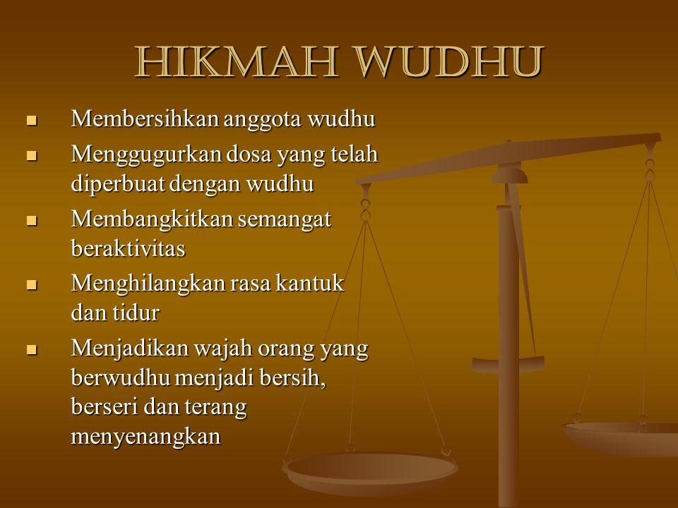 Hikmah Wudhu Membersihkan anggota wudhu