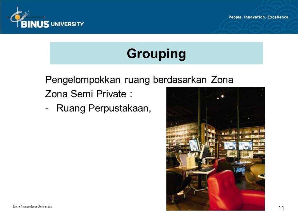 Grouping Pengelompokkan ruang berdasarkan Zona Zona Semi Private :