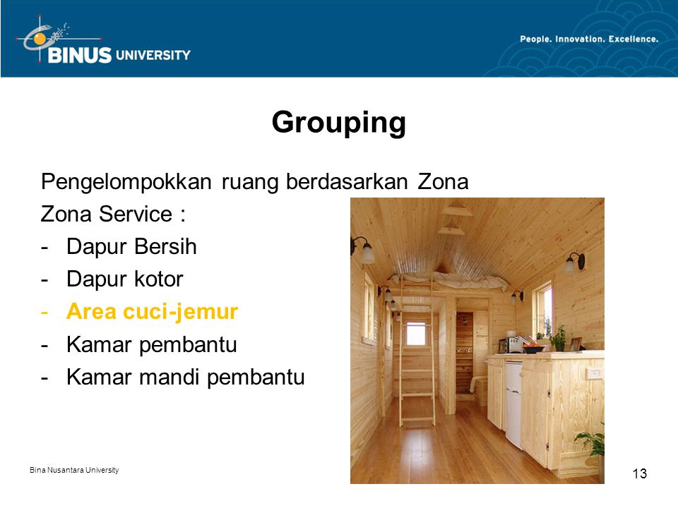 Grouping Pengelompokkan ruang berdasarkan Zona Zona Service :