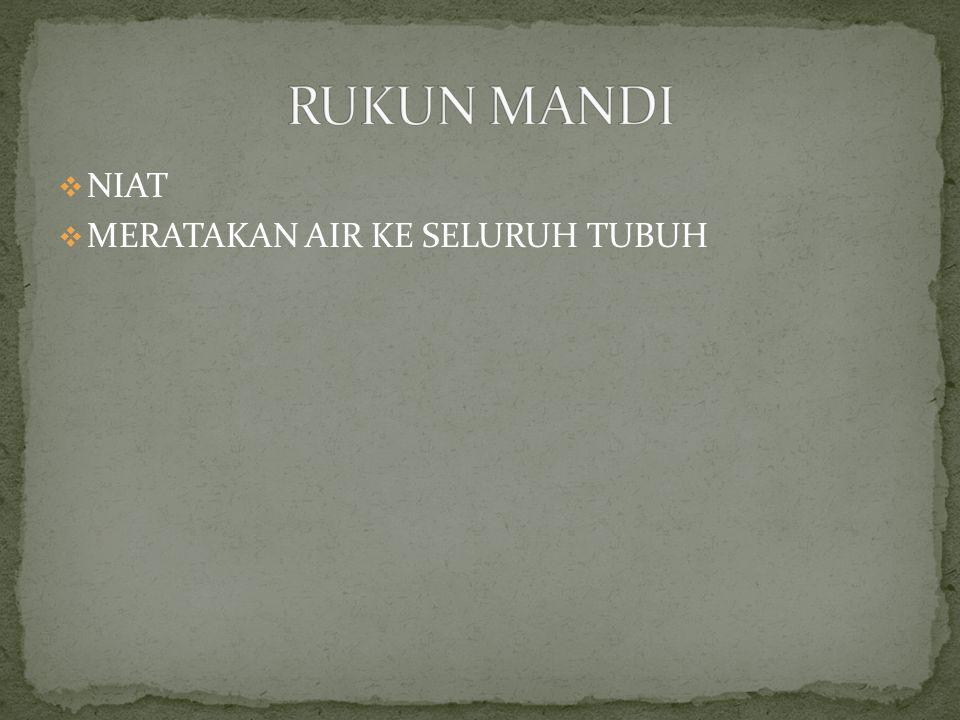 RUKUN MANDI NIAT MERATAKAN AIR KE SELURUH TUBUH
