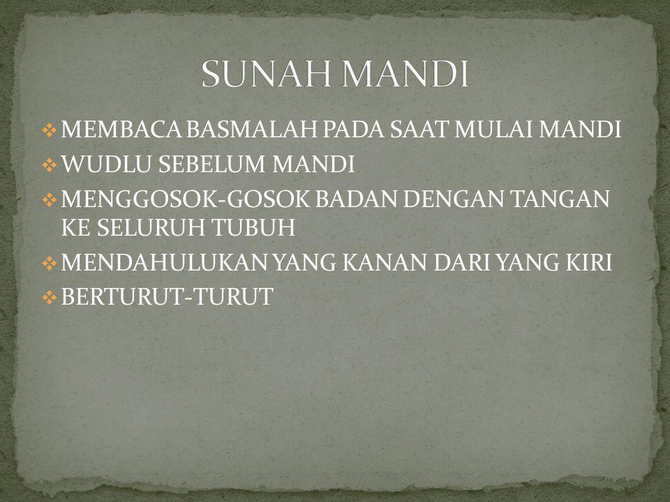 SUNAH MANDI MEMBACA BASMALAH PADA SAAT MULAI MANDI WUDLU SEBELUM MANDI