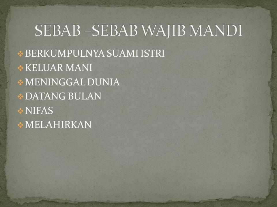 SEBAB –SEBAB WAJIB MANDI