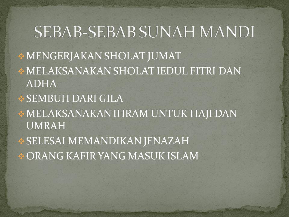 SEBAB-SEBAB SUNAH MANDI