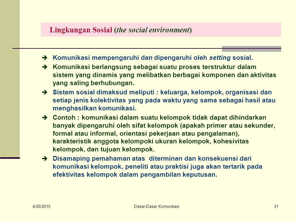Lingkungan Sosial (the social environment)