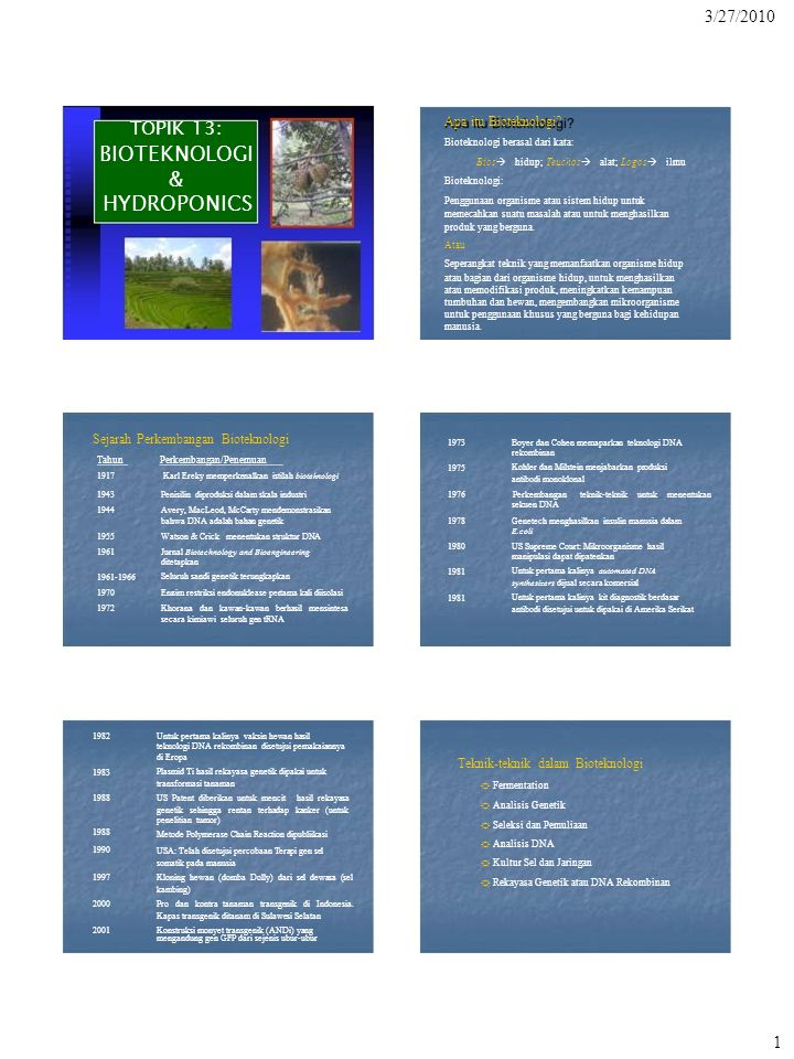 TOPIK 13: BIOTEKNOLOGI & HYDROPONICS 3/27/2010 Apa itu Bioteknologi