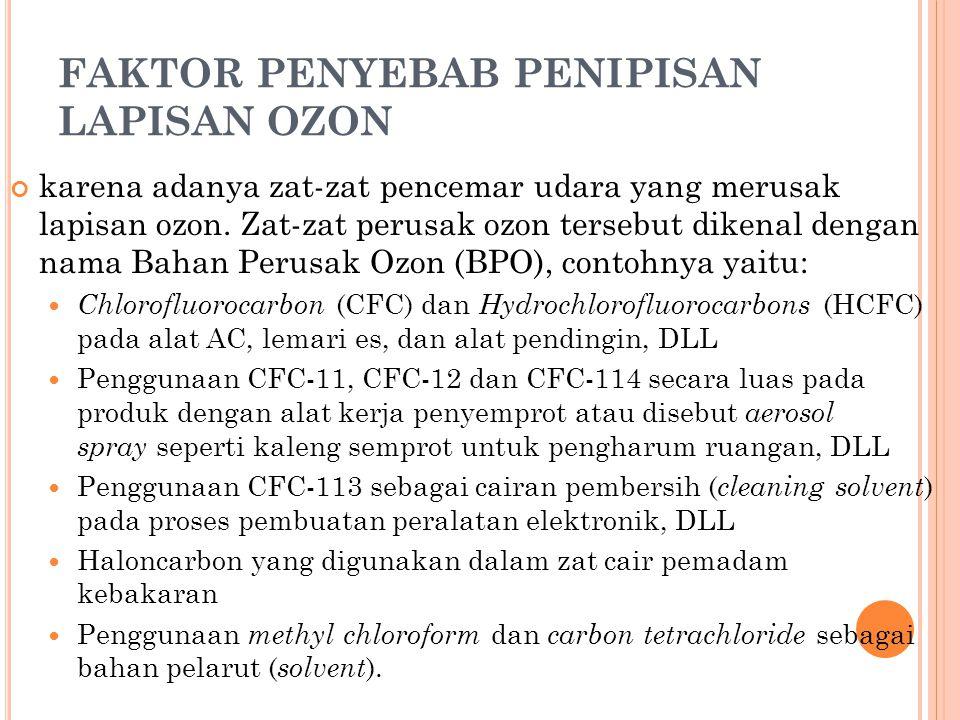 FAKTOR PENYEBAB PENIPISAN LAPISAN OZON